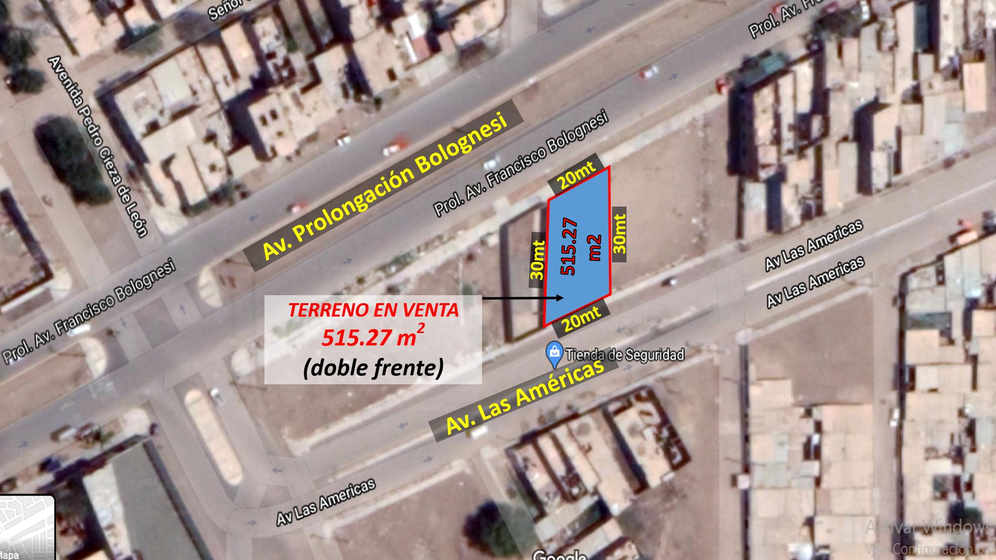 Terreno de 515.27m2 en Av. Prolongación Bolognesi-Chiclayo